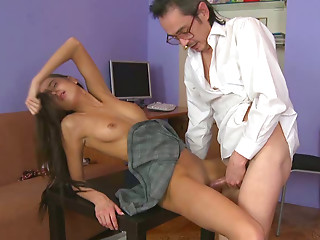 Perverted teacher fucks naughty college girl on the table