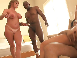 Two lubricious milfs ride one handsome young man