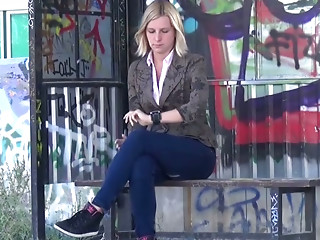 Shy light haired filth pissed on bus stop while waiting for her bus