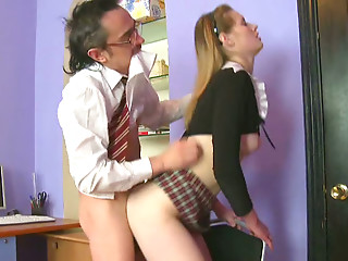 Wanton old teacher doggy bangs his booty light haired chick hard