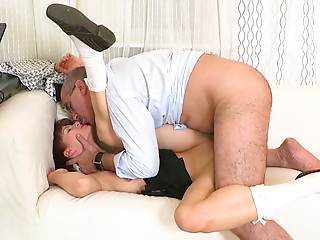 Big assed ginger chick rides massive dick of mature stud in cowgirl pose