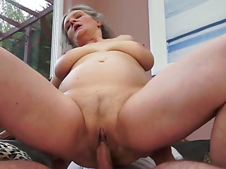Insatiable granny with big boobs gets fucked in sideways position