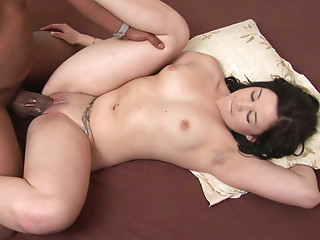 Good looking chick gets brutally fucked in missionary position