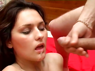 Cum-addicted brunette cutie gets fucked in doggy position