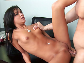 Shapely brunette seductress gets her pussy eaten and fucked hard