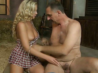 Hot blonde whore with big tits gives head and gets her pussy eaten