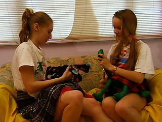 Extremely enthralling lesbian sex scene with hot college girls
