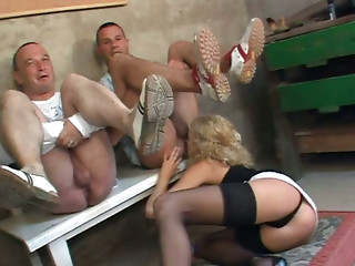 Curly ugly filth Irena desires to provide two dudes with rimjob outdoors