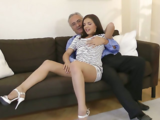 Tall horn-mad nympho Henessy seduces an old man to get her pussy fingered