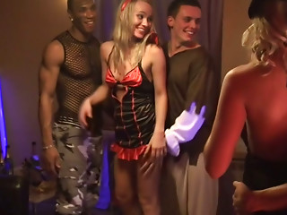 College students are having much fun at the Halloween party