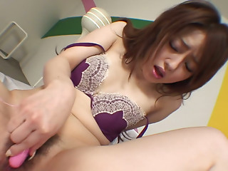 Japanese Ria Sakurai just can't keep the dildos out of her wet pussy