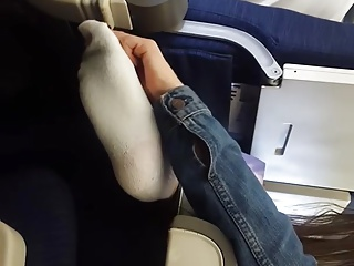Candid Teen Feet White Socks on Plane