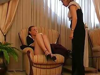 Christina and Nellie pussylicking mature on video