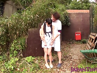 petite japanese teenager grinding cock outside