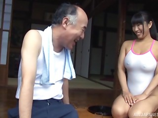 Nozomi gladly lets the older chap touch her impressive curves