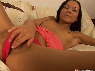 Is this rubber sextoy sweeter compared to her boyfriend's strong cock,find out