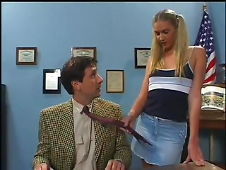Tattooed blond playgirl seduces her college teacher and acquires rewarded with a hardcore doggystyle screw