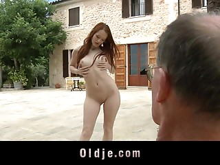 Petite tit classy undress teasing in advance of an elder man drills her hairless wet crack