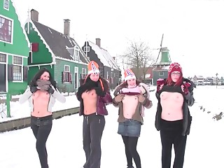 Euro teenies acquire filmed whilst practicing winter sports in the exposed