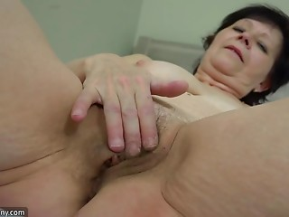 Old slut and hawt young slut playing with strapon, Old slut masturbate with toy