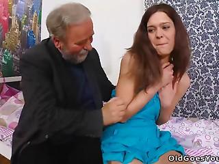 Lustful Nadya has sex with an grandad in her bedroom