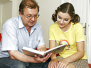 Senior teaches a legal age teenager cutie a indecent lesson