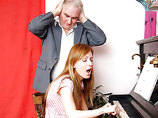 Blond Young slut Acquires Drilled By an Grandpapa Whilst a Old Whore Masturbates