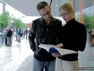 Shy student in glasses Veronika is screwed and jizzed
