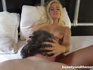 Skinny blond Candee Licious prefers sex with aged guys