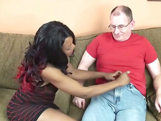 Dark-haired hoe Kelly Stylz sucks an old fart's stiff cock like a true whore