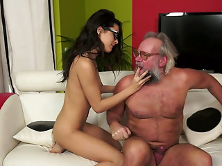 Good all natural nerdy brunette hair playgirl gives grandpa a rimjob